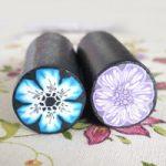 Canes fimo azzurro e viola – Fimo canes violet and blue