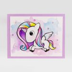 Card Unicorno in acquerello – Unicorn Watercolor Card