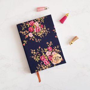 Agenda Bullet Journal A6 Puntinato copertina in Stoffa Blu e fiori