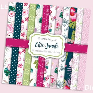 Set di 12 immagini DIGITALI Chic Jungle + Clip Arts