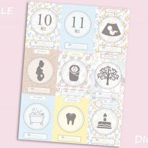 Set di 18 immagini DIGITALI Card Neonato