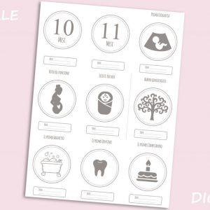 Set di 18 immagini DIGITALI Card Neonato VUOTE