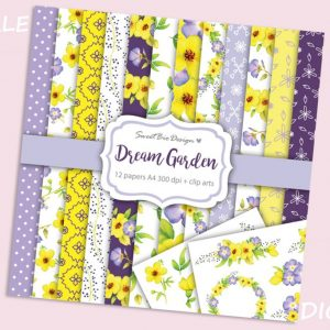 Set di 12 immagini DIGITALI Dream Garden + Clip Arts