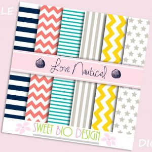 Set di 6 immagini DIGITALI Love Nautical