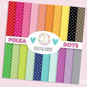 Set di 20 immagini DIGITALI Polka dots