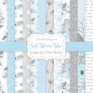 Set di carte Stampate SOFT BLOOM BLUE
