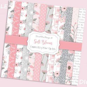 Set di 12 immagini DIGITALI Soft Bloom + Clip Arts