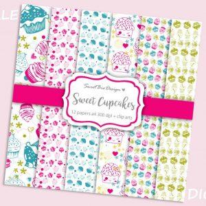 Set di 6 immagini DIGITALI Sweet Cupcakes