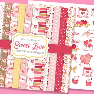 Set di 12 immagini DIGITALI Sweet Love + Clip Arts