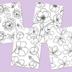 Biglietti DIGITALI da colorare Flowers 4 immagini