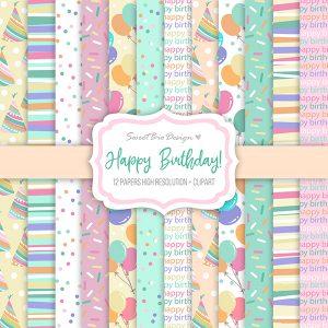 Set di carte Stampate HAPPY BIRTHDAY + clipart