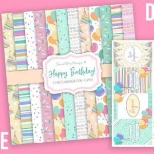 Set di 12 immagini DIGITALI Happy Birthday + ClipArts