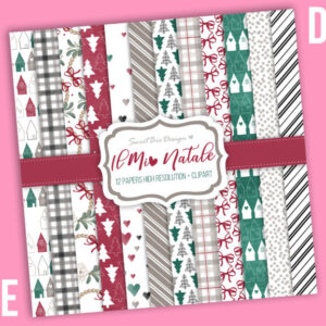 Set di 12 immagini DIGITALI Il Mio Natale + Cartoline
