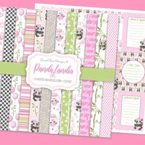 Set di 12 immagini DIGITALI Panda Landia Girl + Cartoline