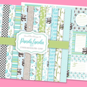 Set di 12 immagini DIGITALI Panda Landia Boy + Cartoline