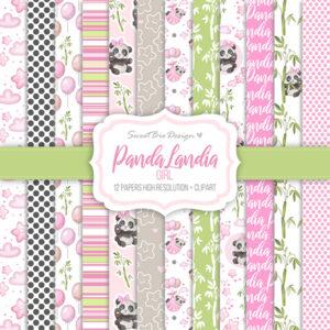 Set di carte Stampate PANDA LANDIA GIRL + Cartoline